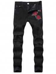 Rose Embroidery Ripped Stretch Jeans -