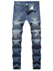 Ripped Scratch Straight Casual Jeans -