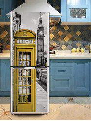 London Telephone Booth Print DIY Fridge Cover Sticker -