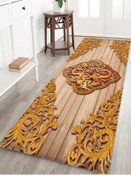 Retro Carved Dragon and Phoenix Print Indoor Floor Rug -