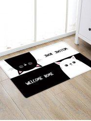 Uhommi Black and White Cartoon Cats Print Antiskid Floor Rug -