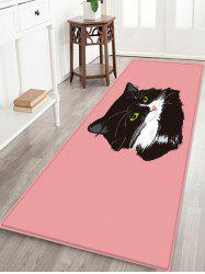 Uhommi Black Cat Painting Pink Background Print Antiskid Floor Rug -