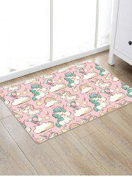 Uhommi Cartoon Unicorn Print Water Absorption Floor Rug -