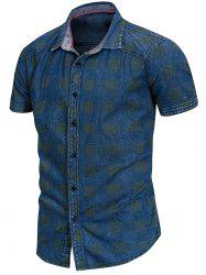 Turn Down Collar Check Print Shirt -