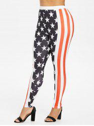 Plus Size Patriotic American Flag Leggings -