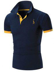 Slim Fit Embroidery Giraffe T-shirt -