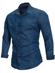 Turn Down Collar Net Pattern Denim Shirt -
