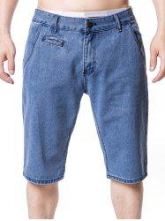 Four-pocket Zip Fly Denim Shorts -