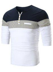 Stripe Panel Notch Neck Long Sleeve T-shirt -