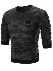 Sweat-shirt Camouflage Applique à Col Rond -