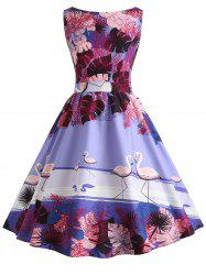 Vintage Printed Fit and Flare Dress -