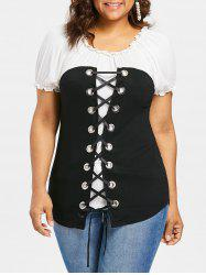 Plus Size Two Tone Lace Up T-shirt -
