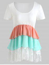 Color Block Lace Trim Smock Top -