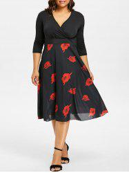 Plus Size Rose Print Surplice Dress -