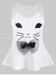Cat Pattern Mesh Panel Tank Top -