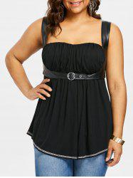 Plus Size PU Leather Trim Gothic Tank Top -