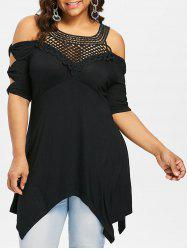 Plus Size Lattice Front Empire Waist Handkerchief T-shirt -