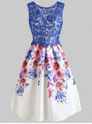 See Through Lace Panel Floral Flared Dress -