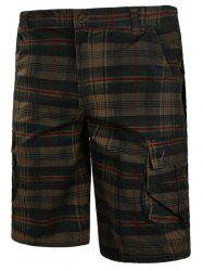 Check Print Multi-pockets Cargo Shorts -