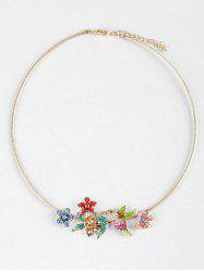 Flowers Birds Butterfly Rhinestone Collar Necklace -