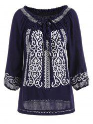 Self Tie Embroidery Blouse -