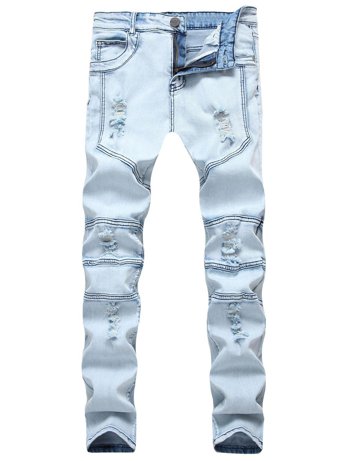 New Splicing Ripped Skinny Stretch Denim  Biker Jeans