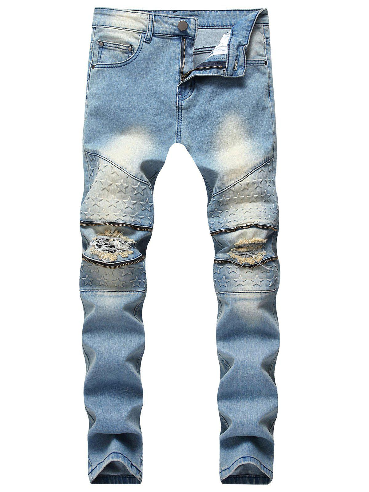 Fashion Five Pointed Stars Raised Zippers Ripped Jeans