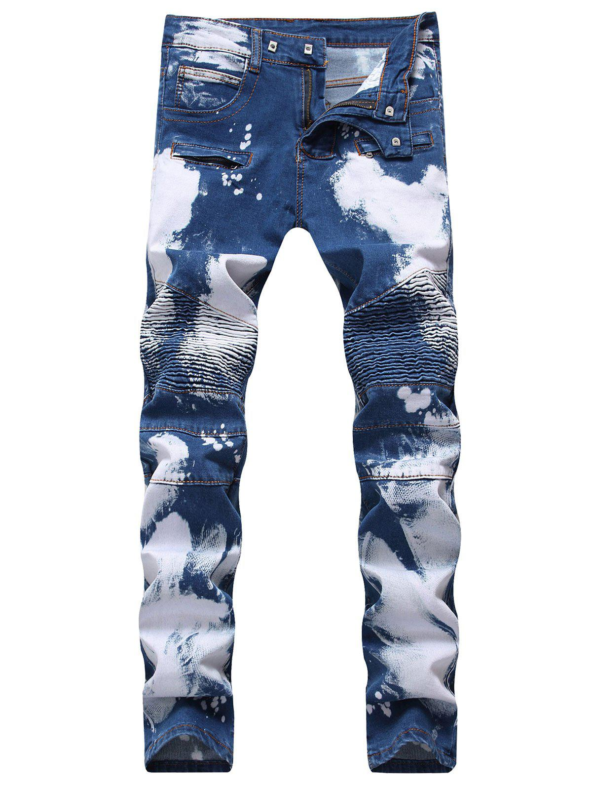 Buy Hook Button Paint Splatter Print Straight Leg Jeans