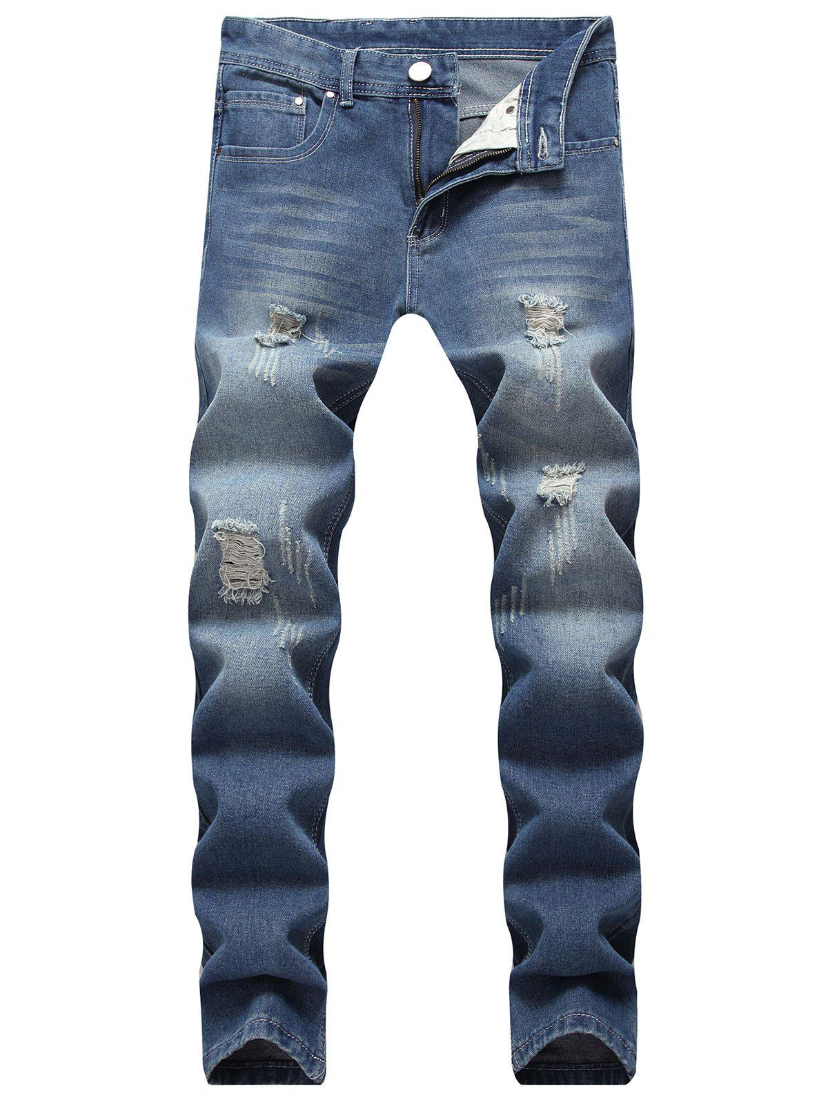 Discount Ripped Scratch Straight Casual Jeans
