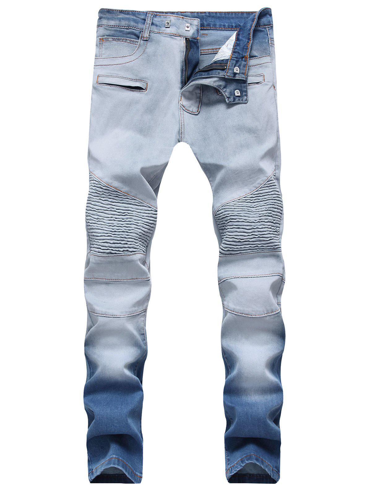 New Hook Button Straight Leg Distressed Biker Jeans