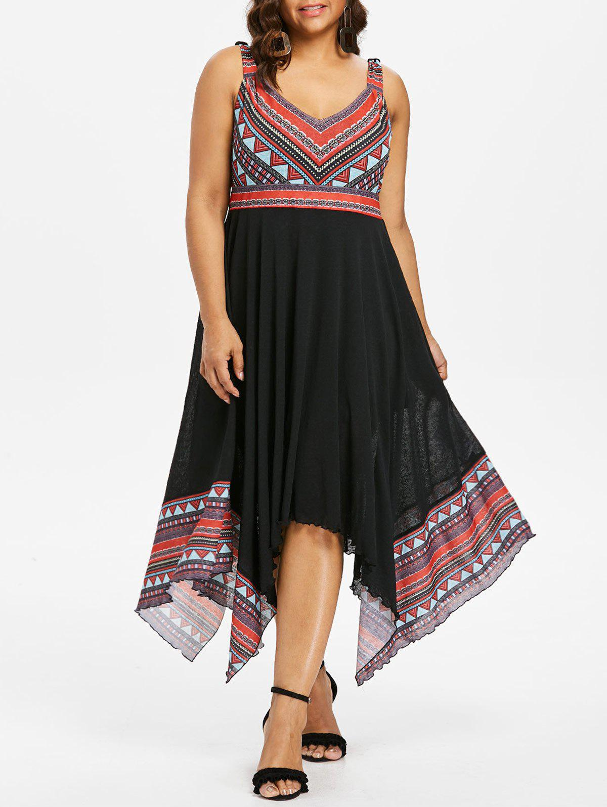 Best Plus Size Tribal Print Handkerchief Dress