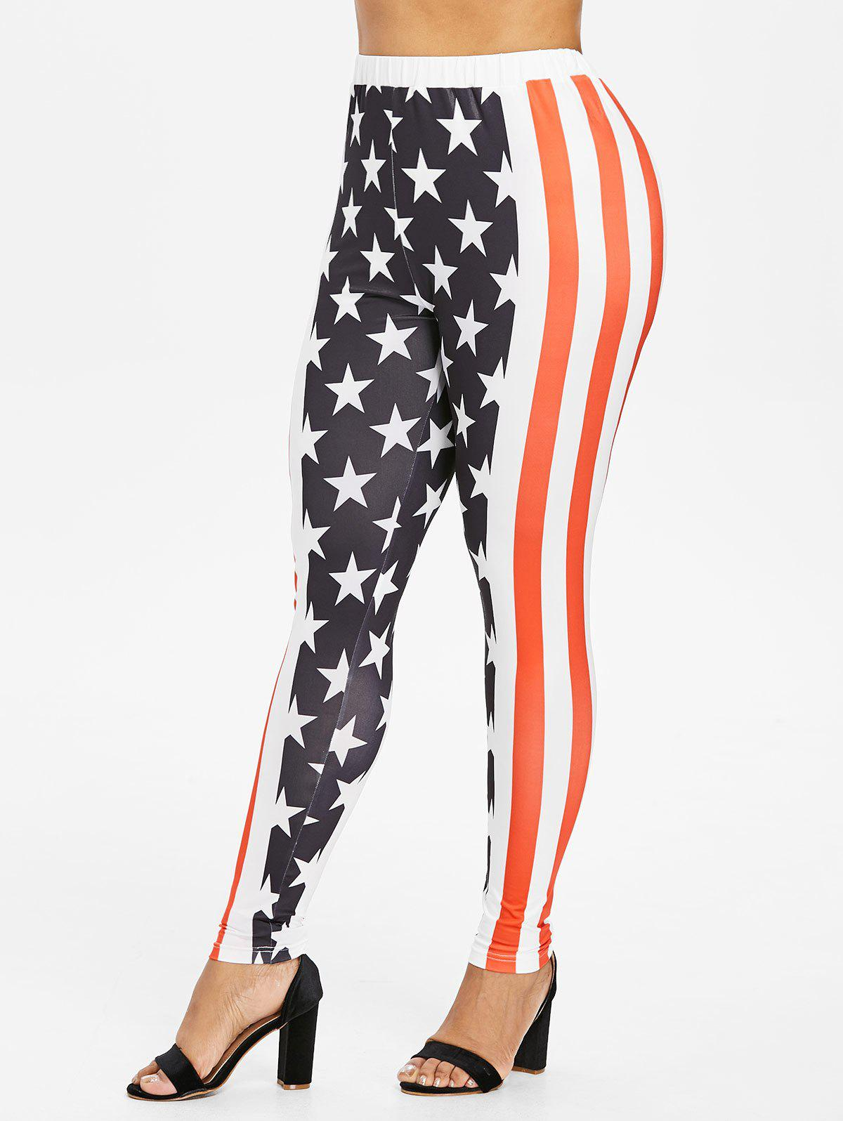 Cheap Plus Size Patriotic American Flag Leggings