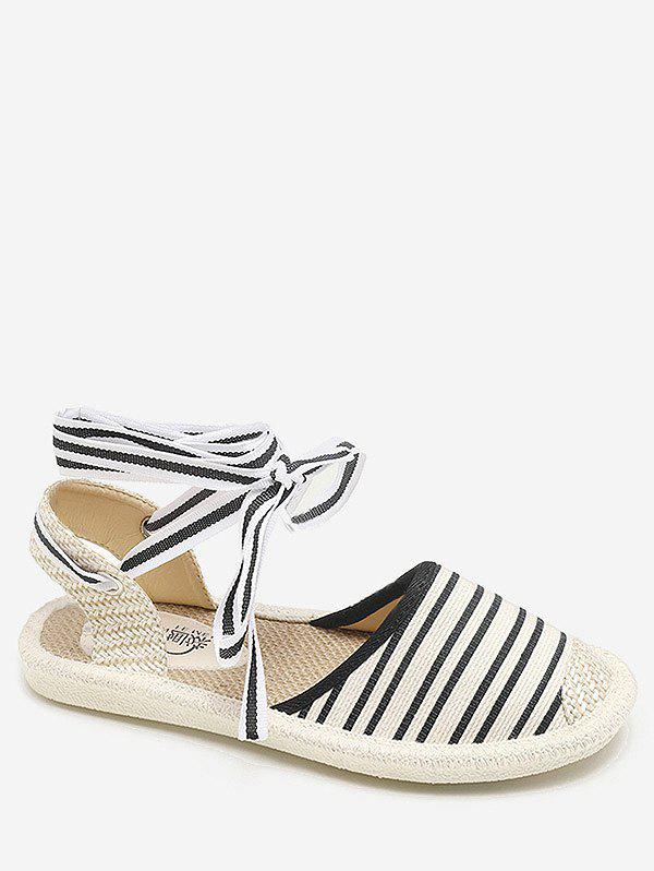 Cheap Striped Flat Heel Espadrille Ankle Strap Sandals