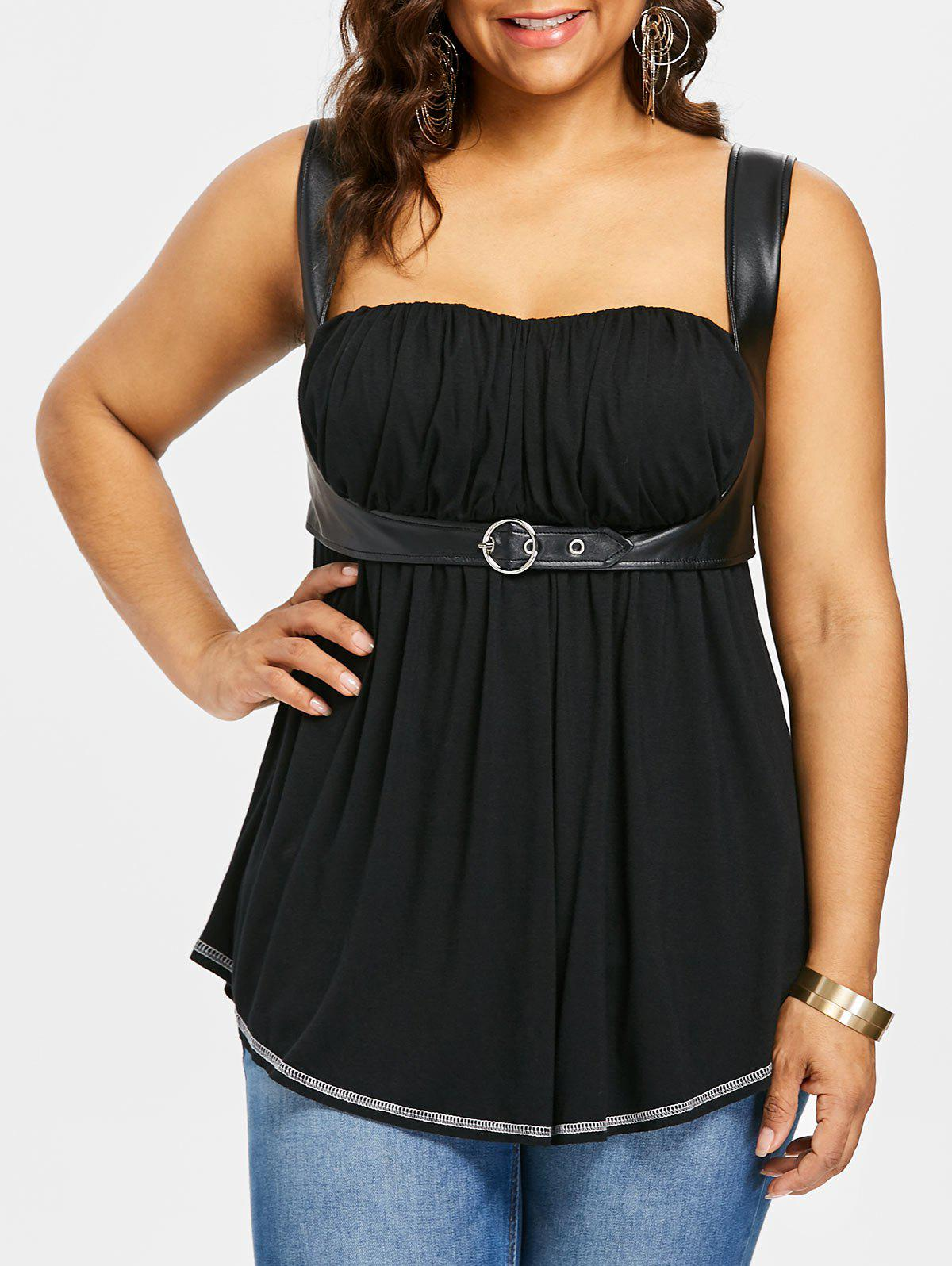 Affordable Plus Size PU Leather Trim Gothic Tank Top