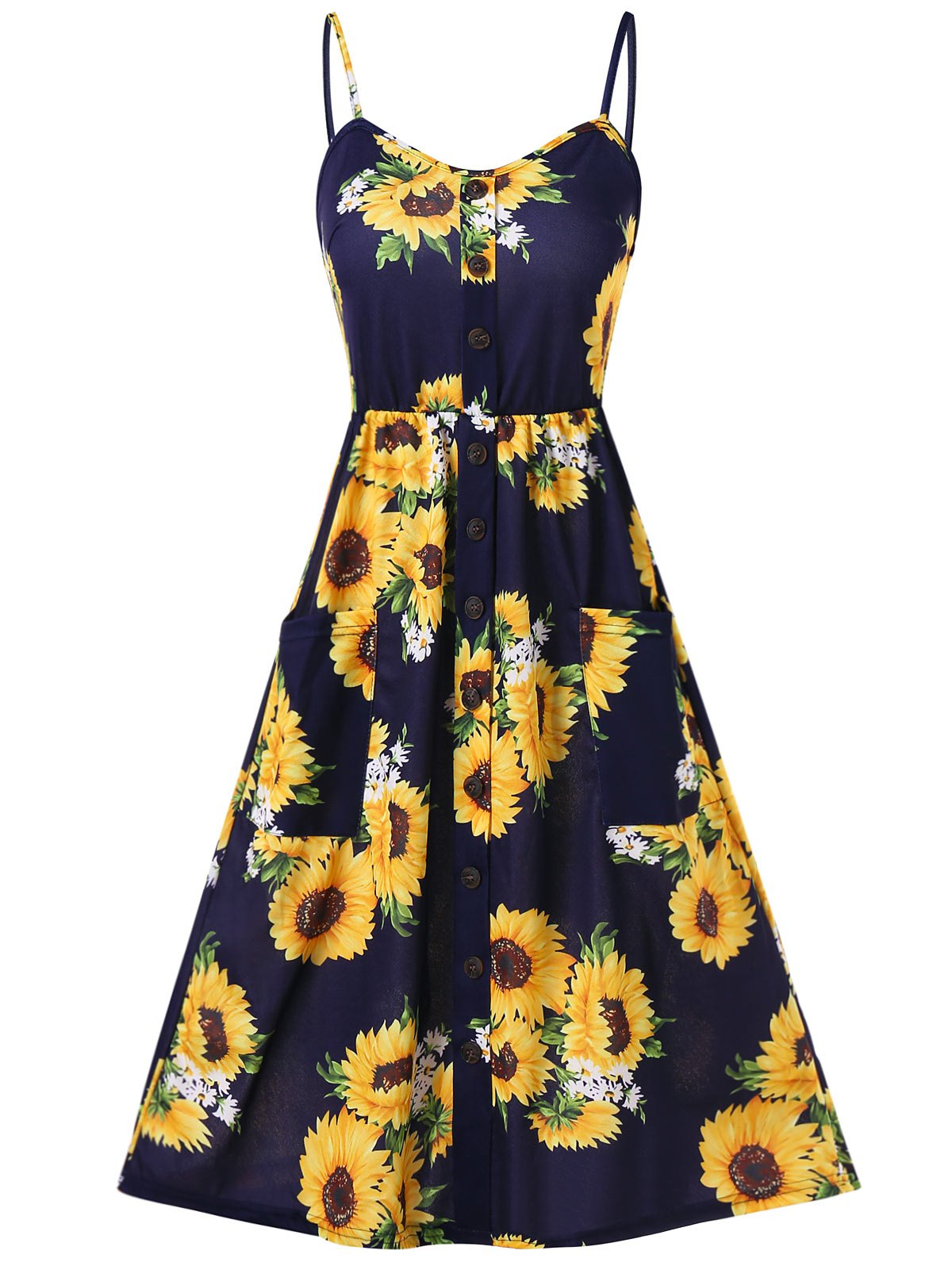 Chic Spaghetti Strap Sunflower Print Buttoned Mini Dress