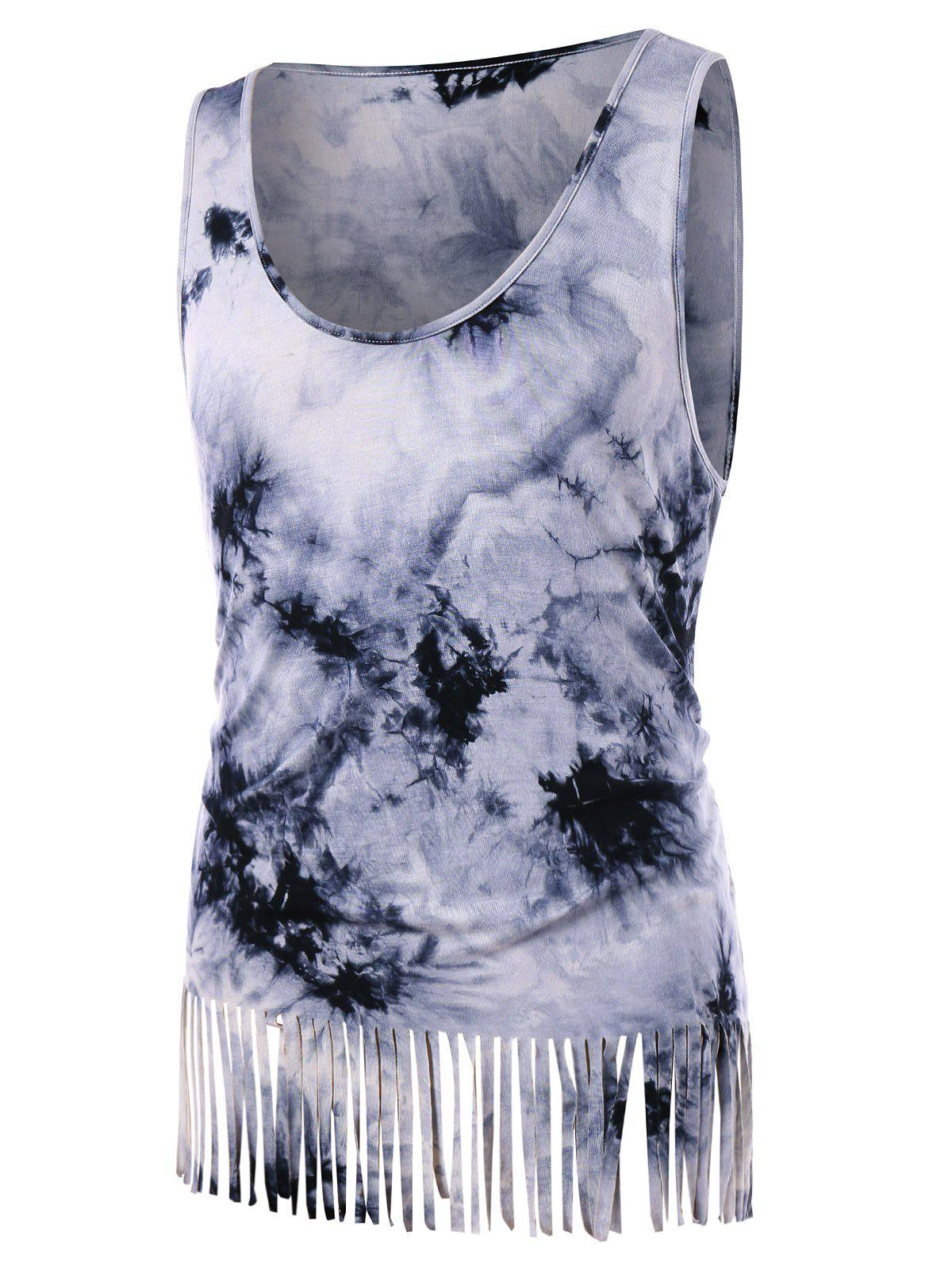 Affordable Fringe Tie Dye Tank Top