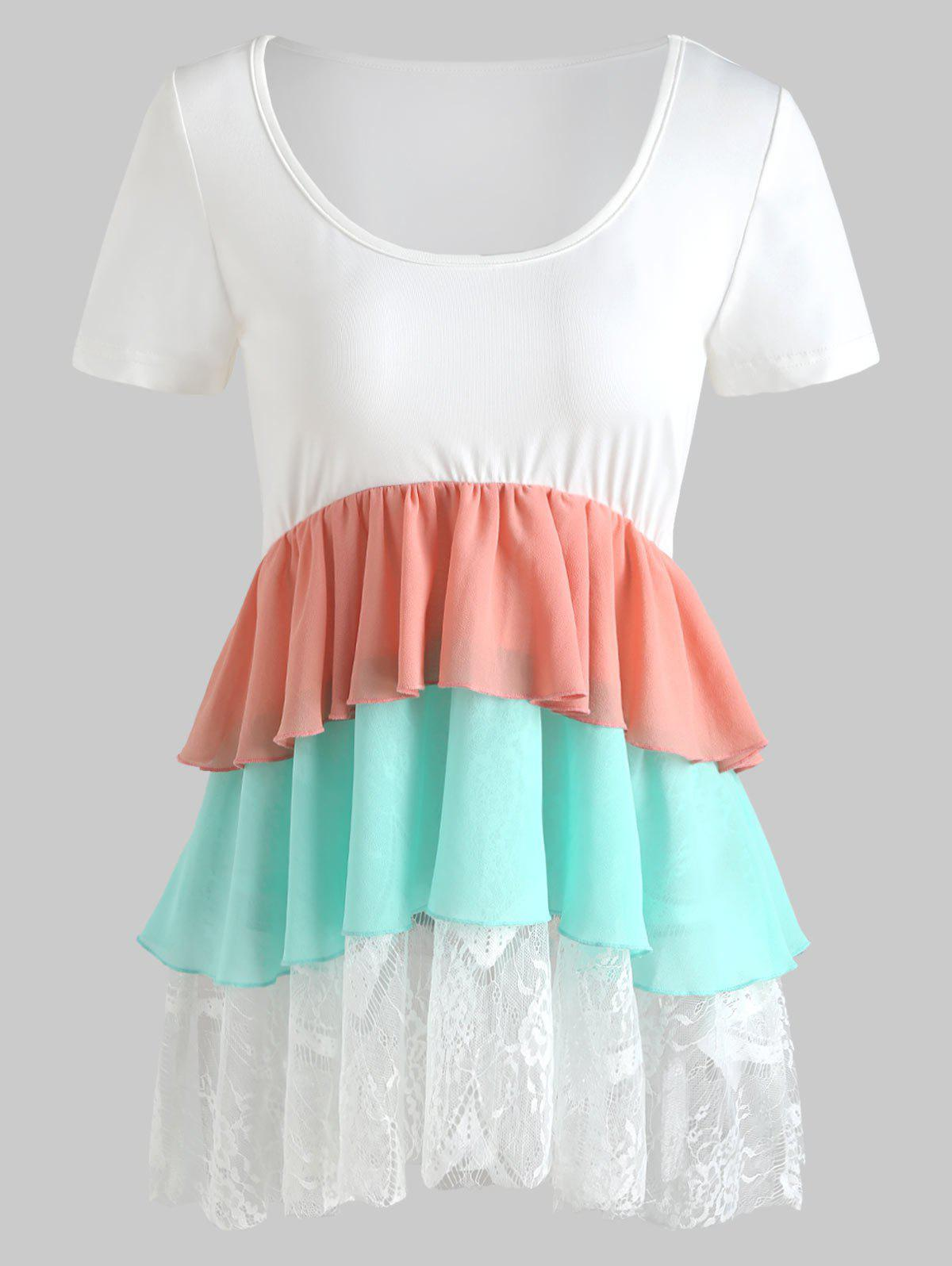 Fashion Color Block Lace Trim Smock Top