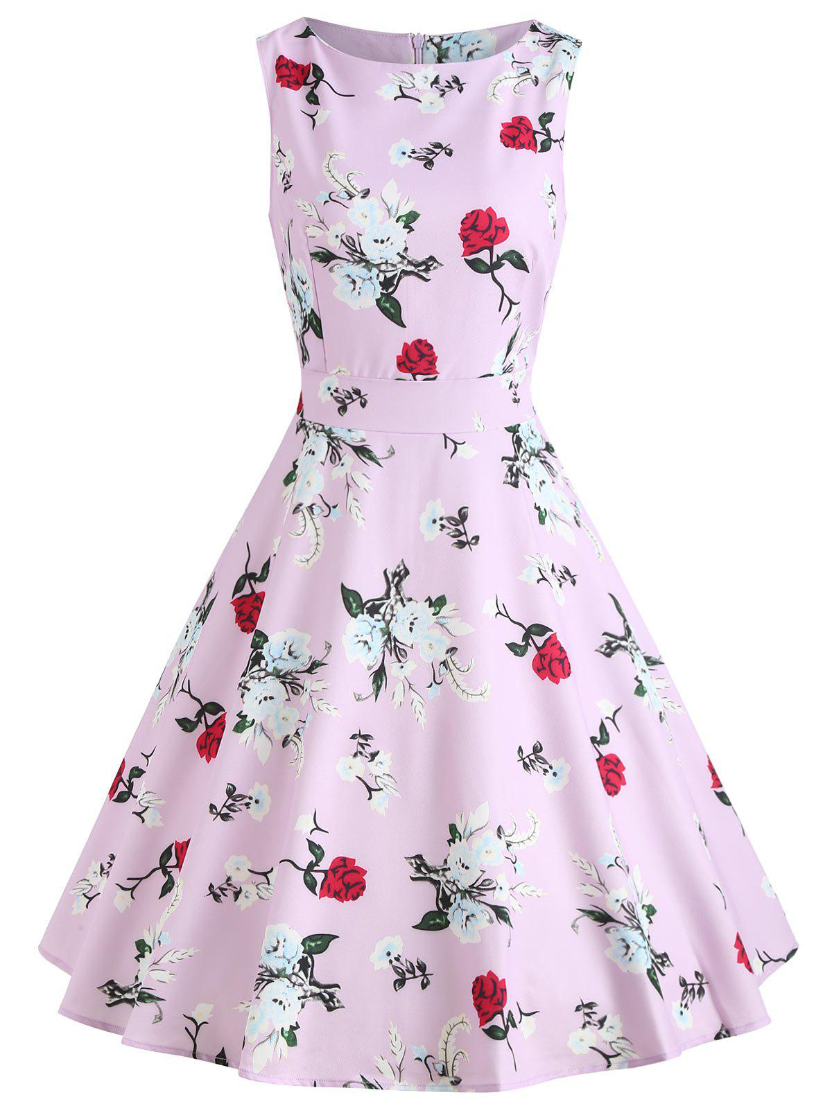 Cheap Vintage Floral Print Fit and Flare Dress