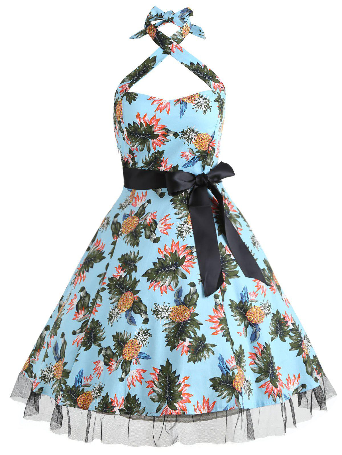 Chic Vintage Pineapple Print Pin Up Dress