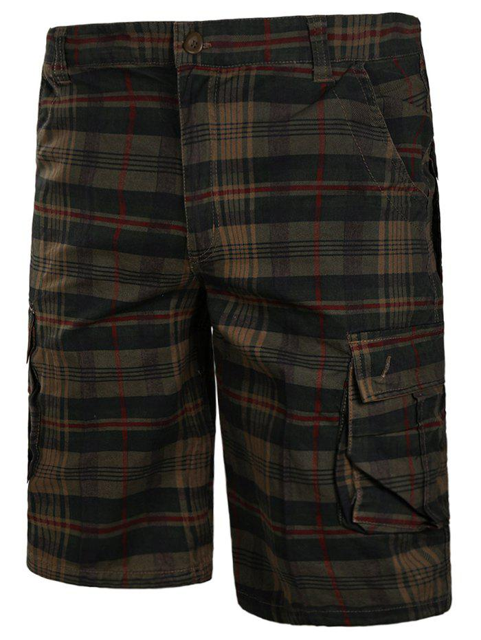 Sale Check Print Multi-pockets Cargo Shorts