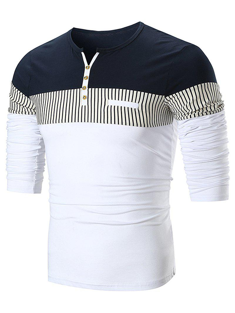 Buy Stripe Panel Notch Neck Long Sleeve T-shirt