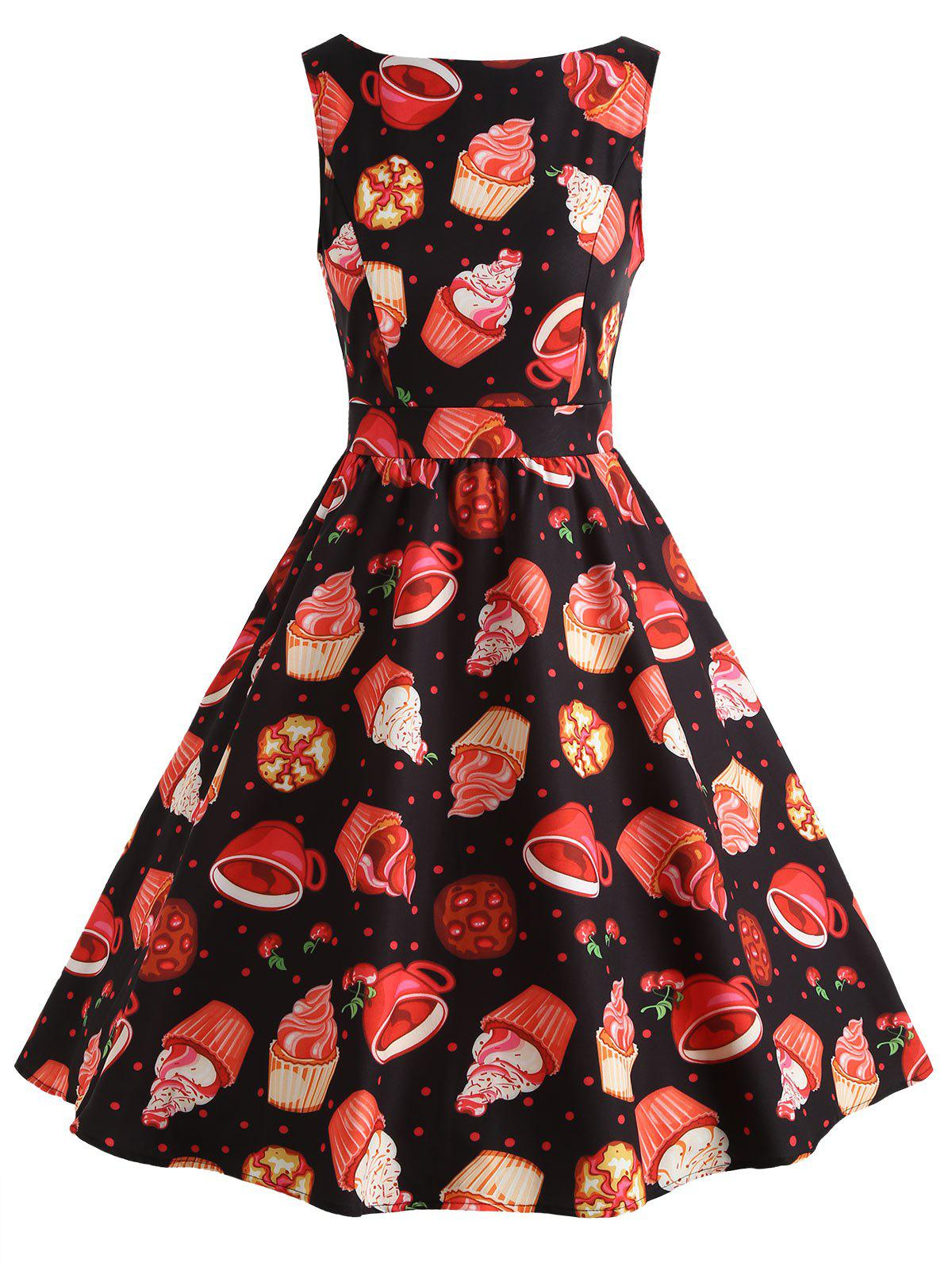 New Vintage Ice Cream Print Skater Dress