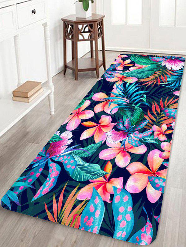 Fashion Flower Plant Print Coral Fleece Floor Mat