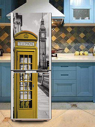 Hot London Telephone Booth Print DIY Fridge Cover Sticker