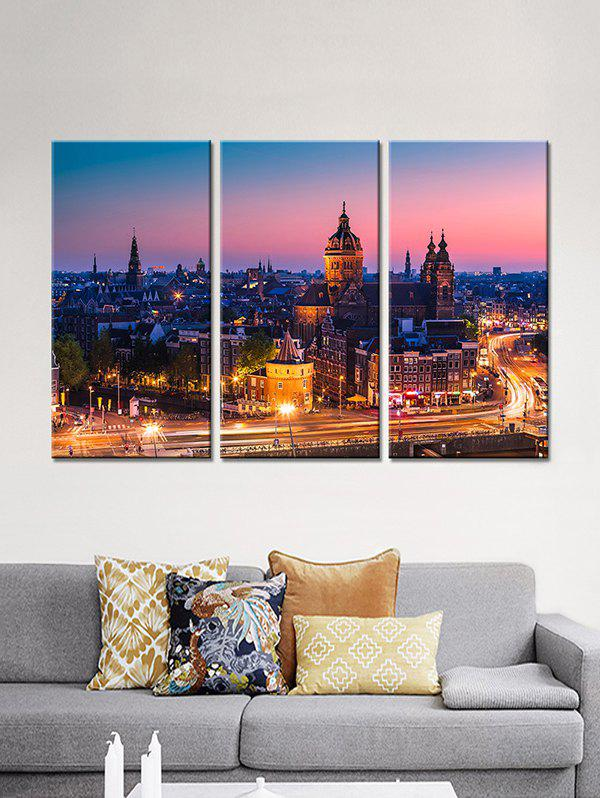 New City Night Print Unframed Split Canvas Paintings
