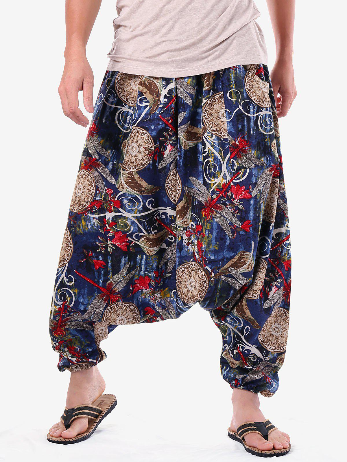 Affordable Casual Dragonfly Print Harem Pants