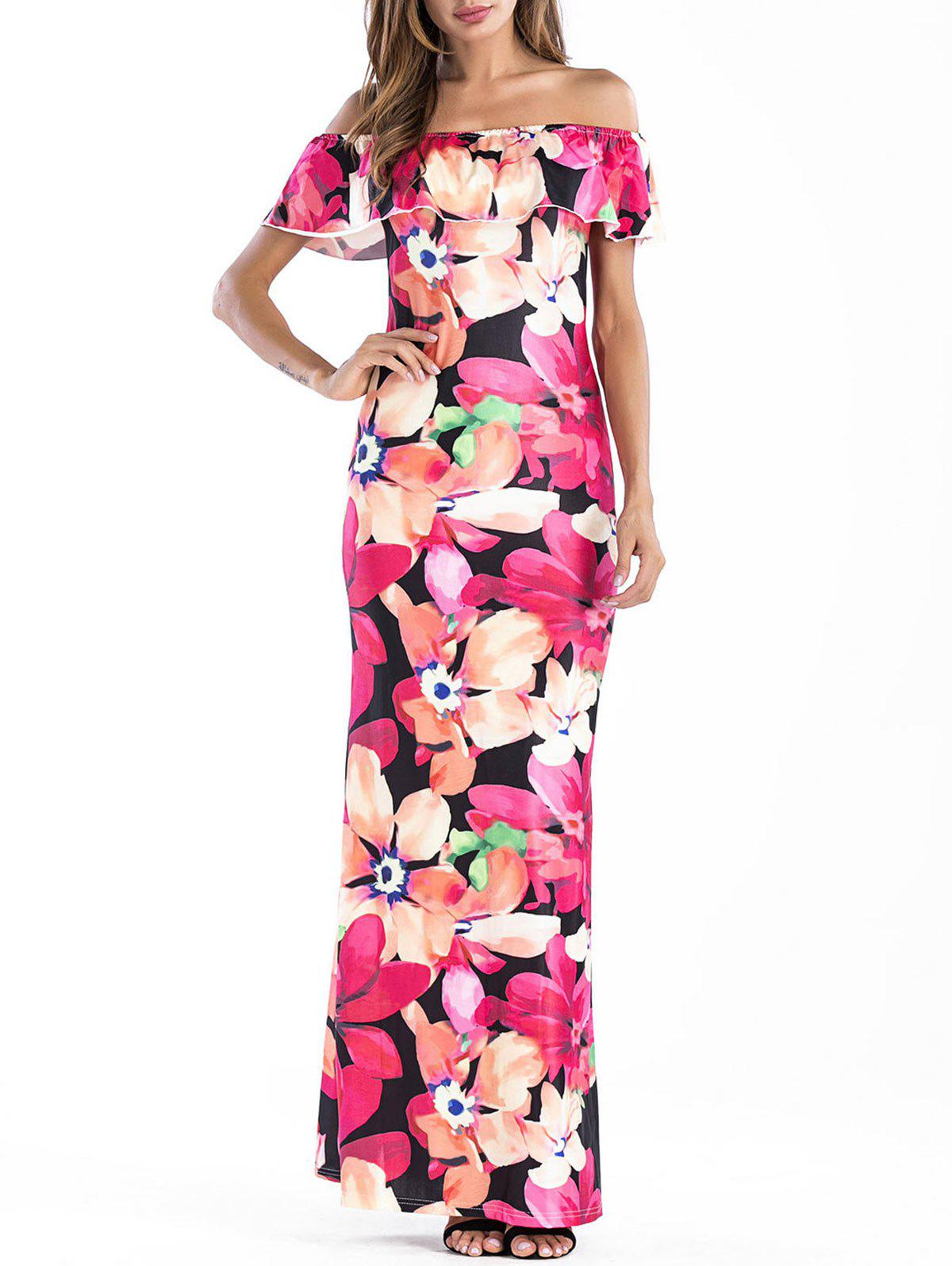 Cheap Off The Shoulder Floral Maxi Dress