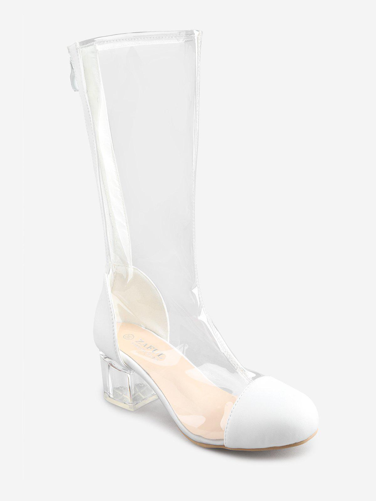 Outfit Chunky Heel PVC Transparent Mid Calf Boots
