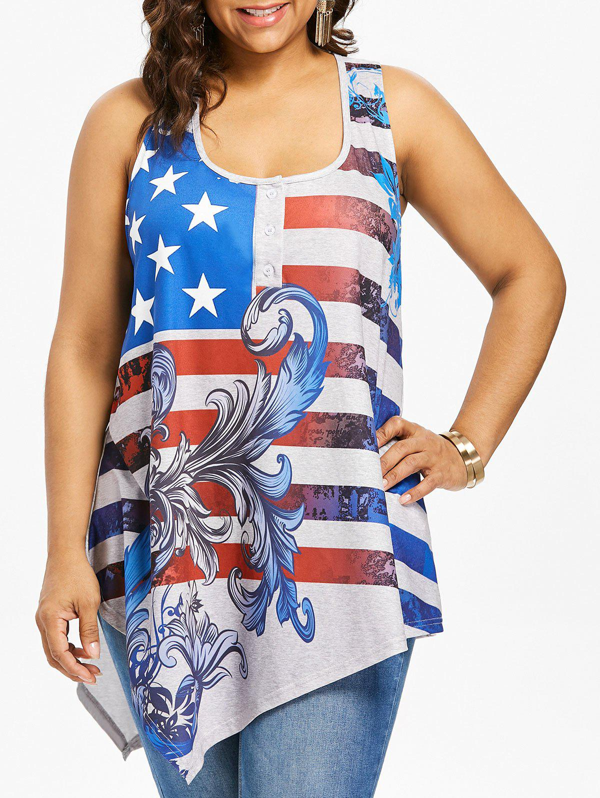 Fashion Plus Size American Flag Racerback Tank Top