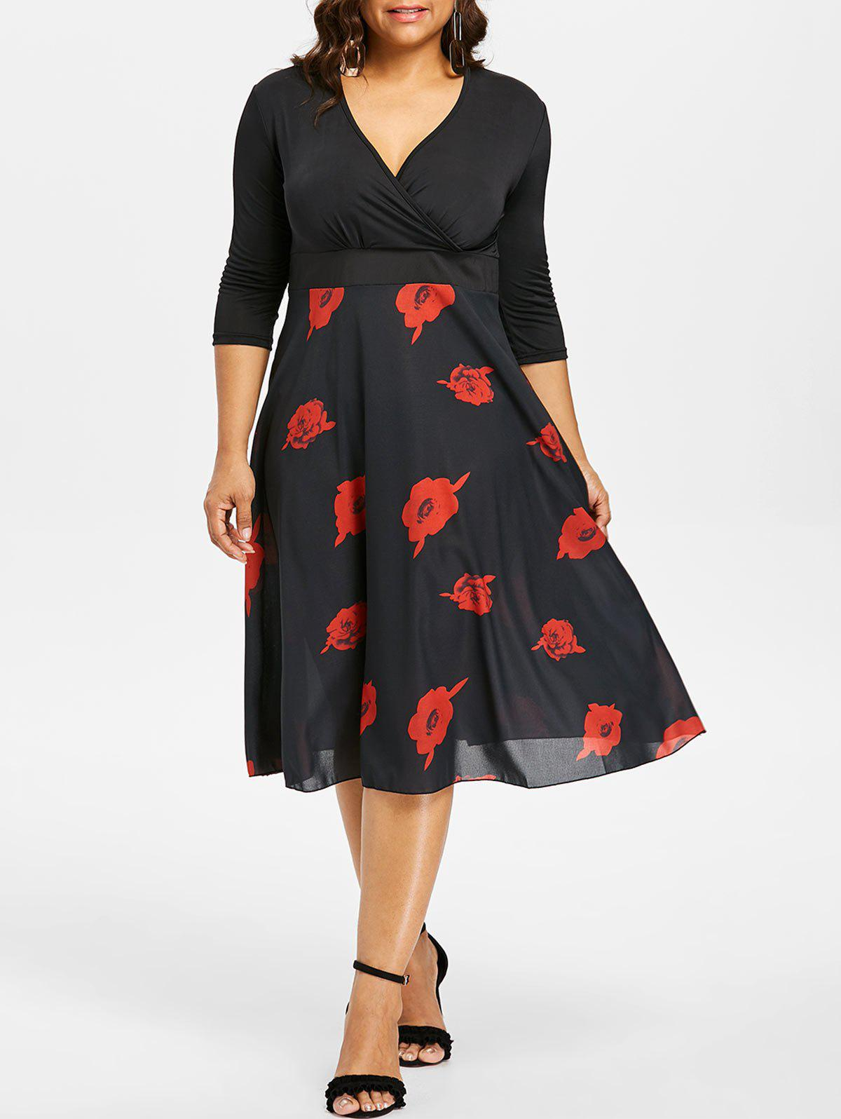 Shops Plus Size Rose Print Surplice Dress